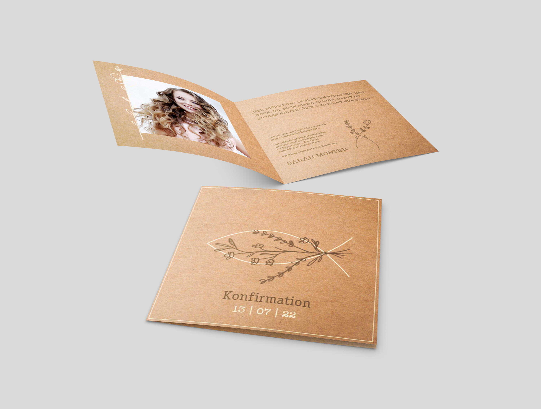 Einladungskarte Konfirmation Blumenverzierung