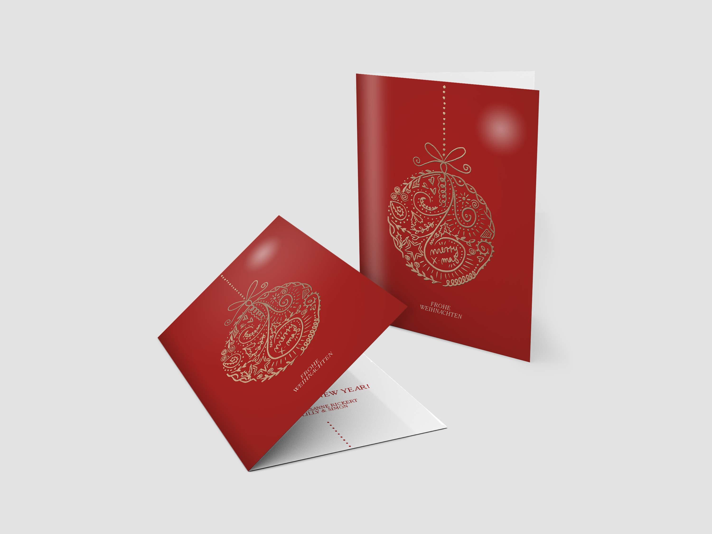 Weihnachtskarten Goldene Christbaumkugel