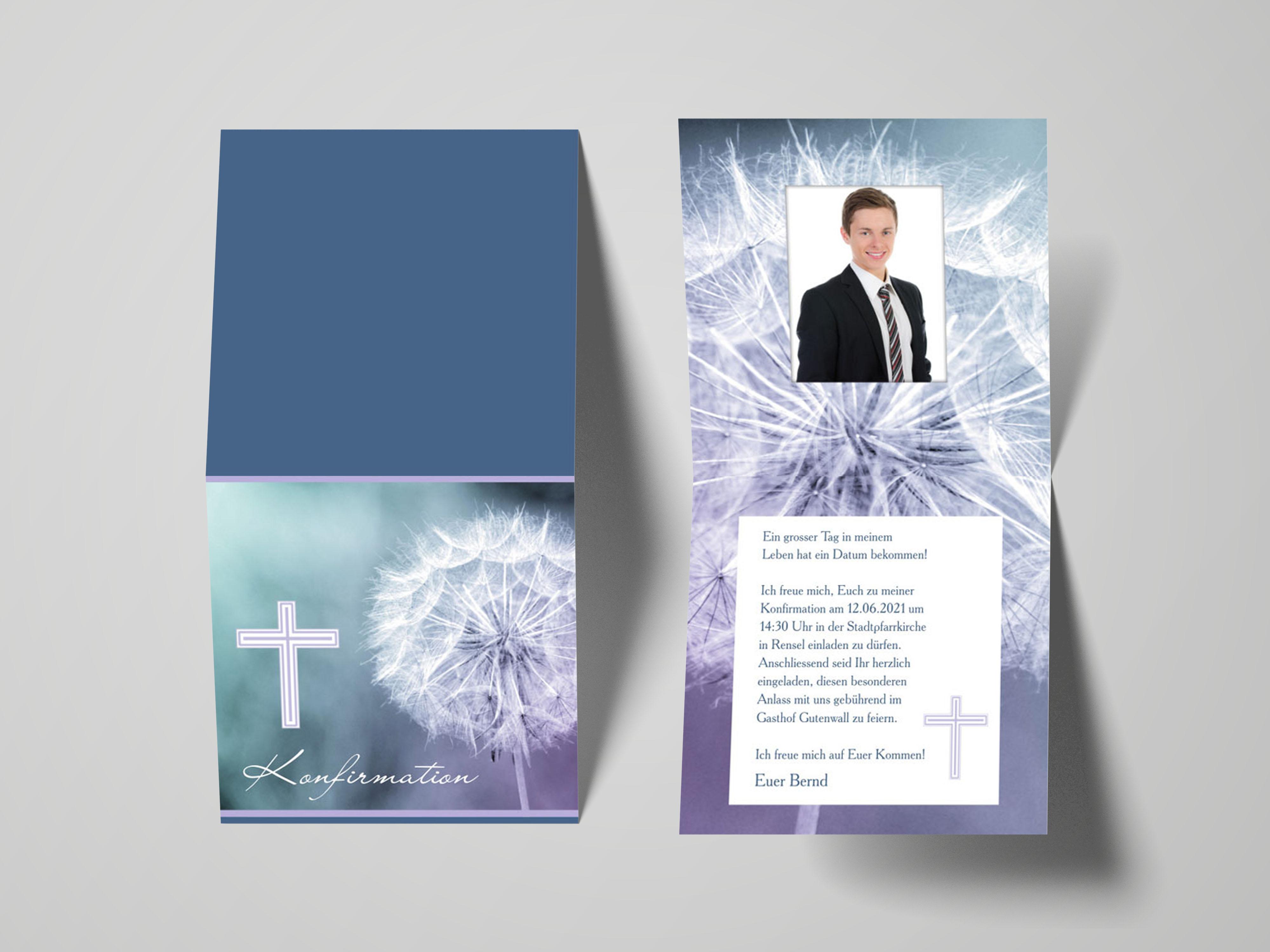 Einladungskarte Konfirmation Pusteblume