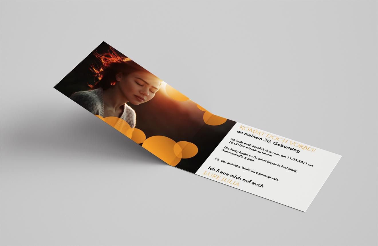 Einladungskarte Geburtstag Goldene Kreise