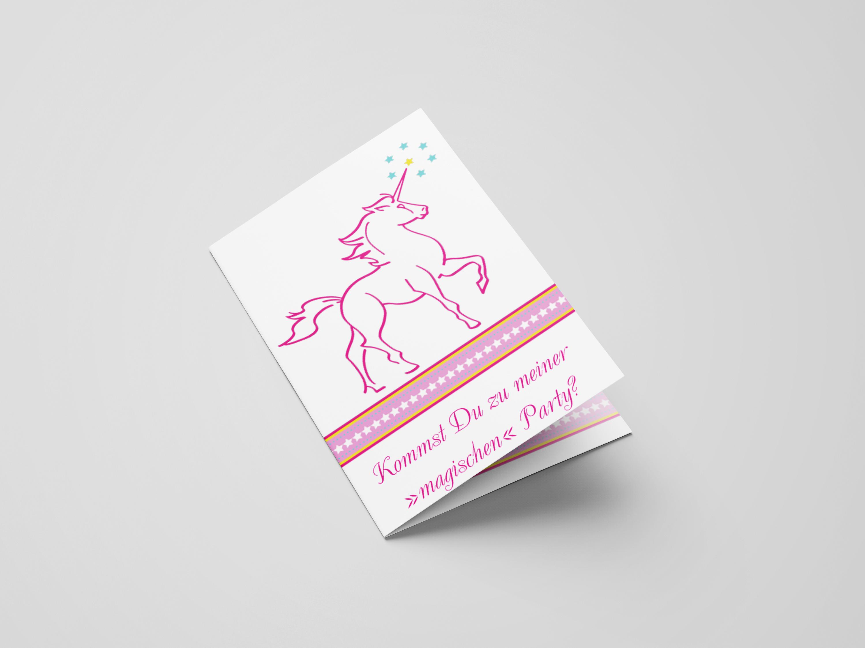 Einladungskarte Kindergeburtstag Einhorn
