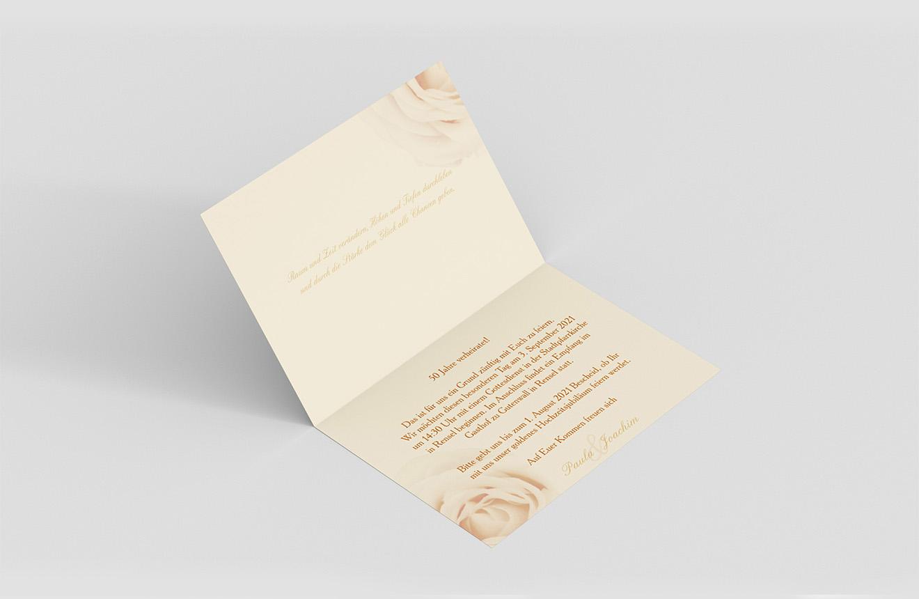 Einladungskarte Goldene Hochzeit Elegante Rose