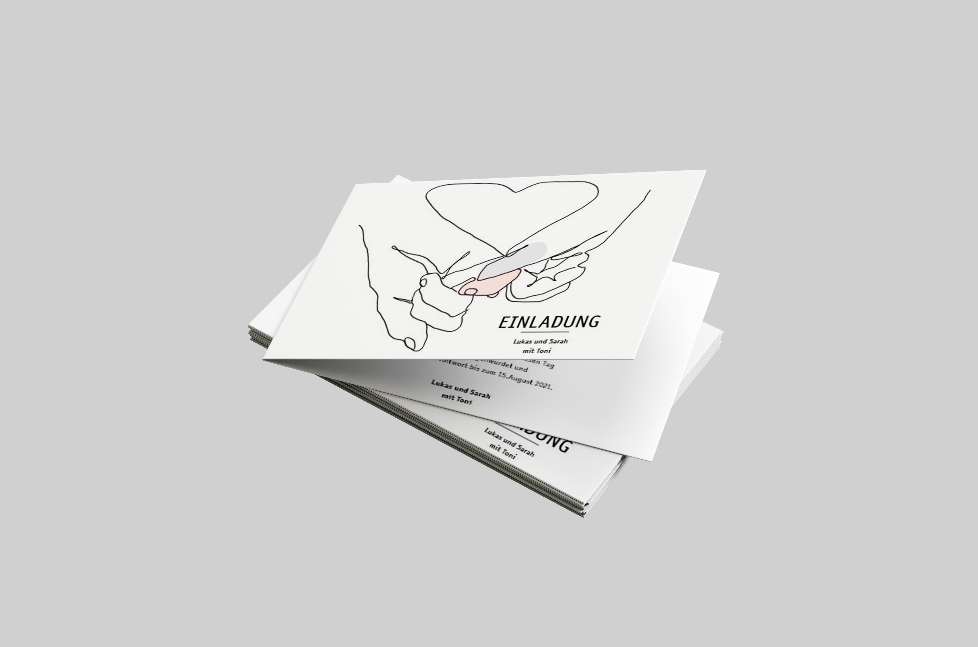 Einladungskarte Hochzeit Drawn Hands