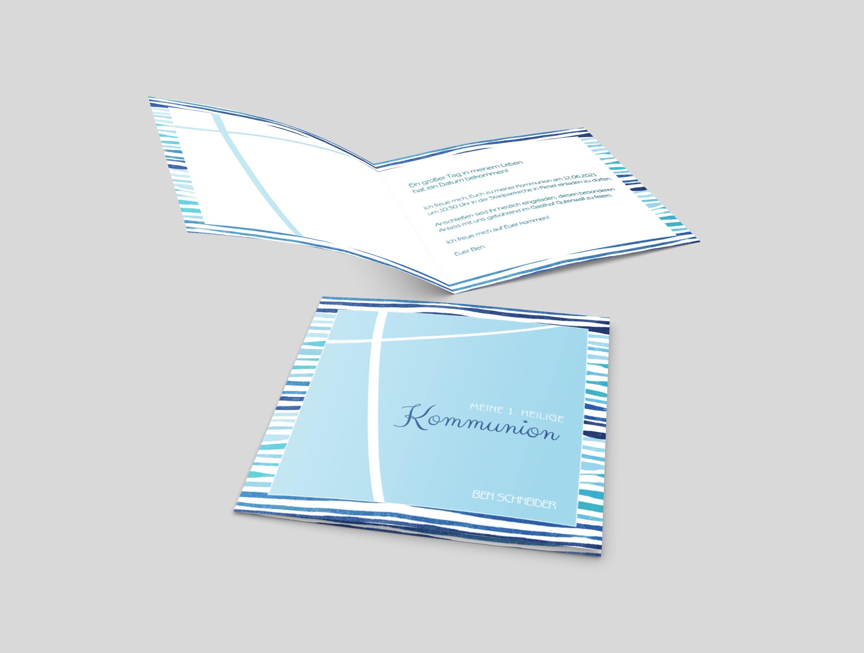 Einladungskarte Kommunion Blaue Wellen