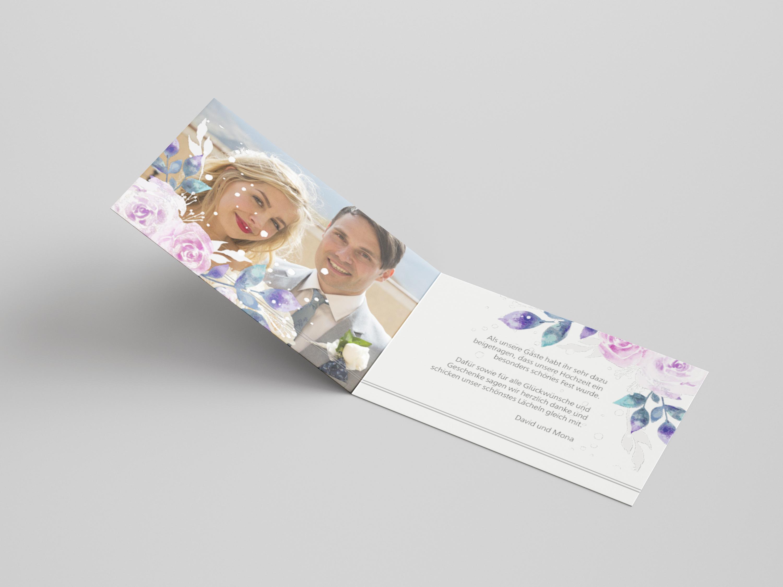 Danksagungskarte Hochzeit Blumen Aquarell 2