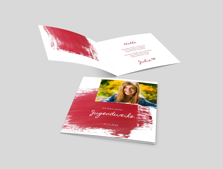 Einladungskarte Jugendweihe Pinselstrich