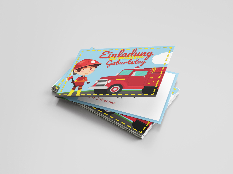 Einladungskarte Kindergeburtstag Feuerwehr Junge