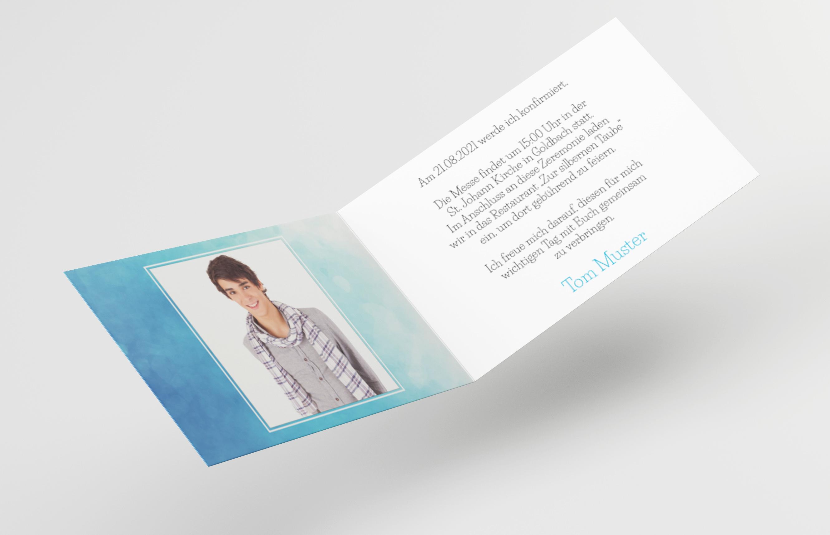 Einladungskarte Konfirmation Handschrift Wolken