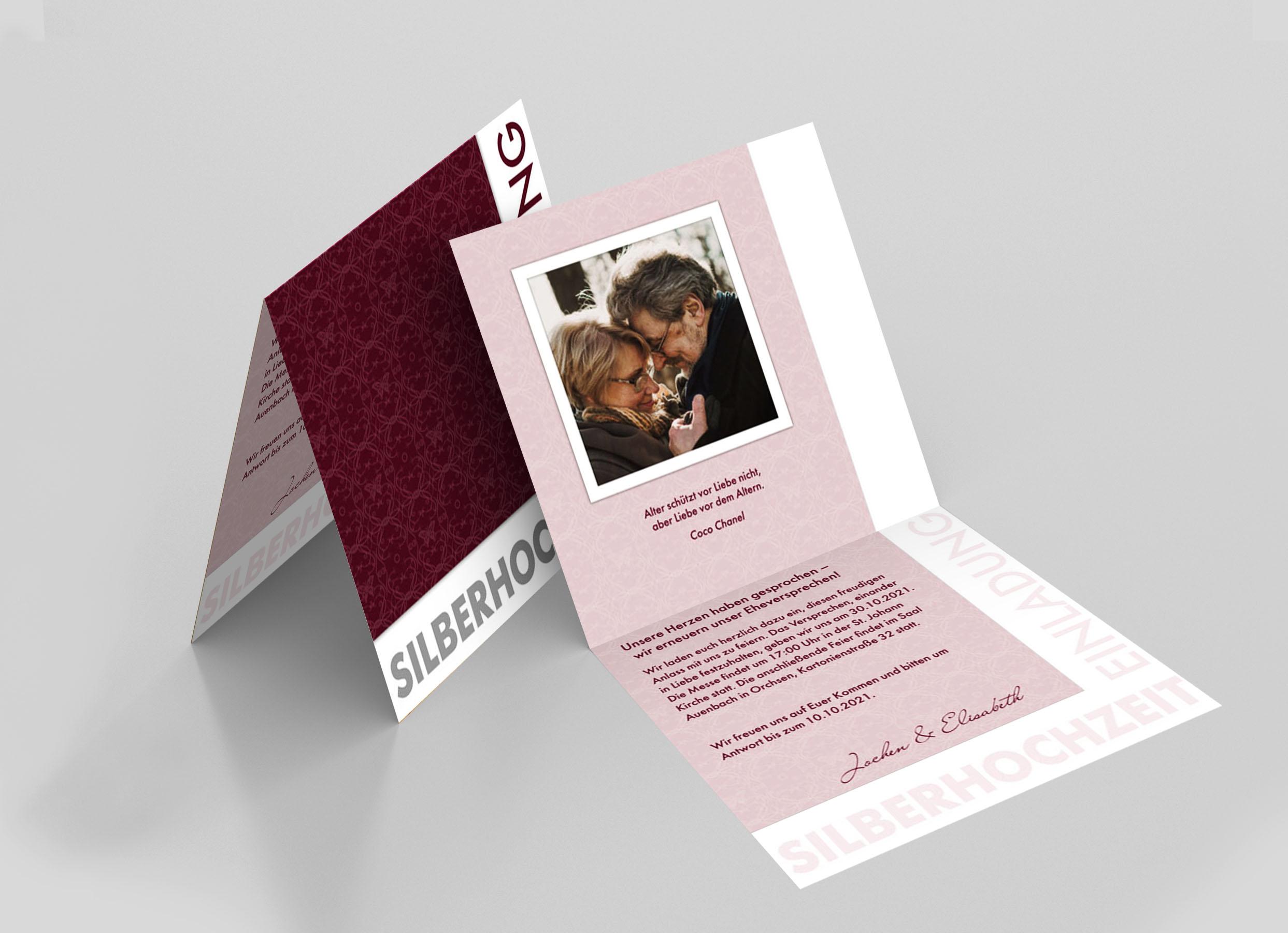 Einladungskarte Silberhochzeit Schmetterlingsornamente