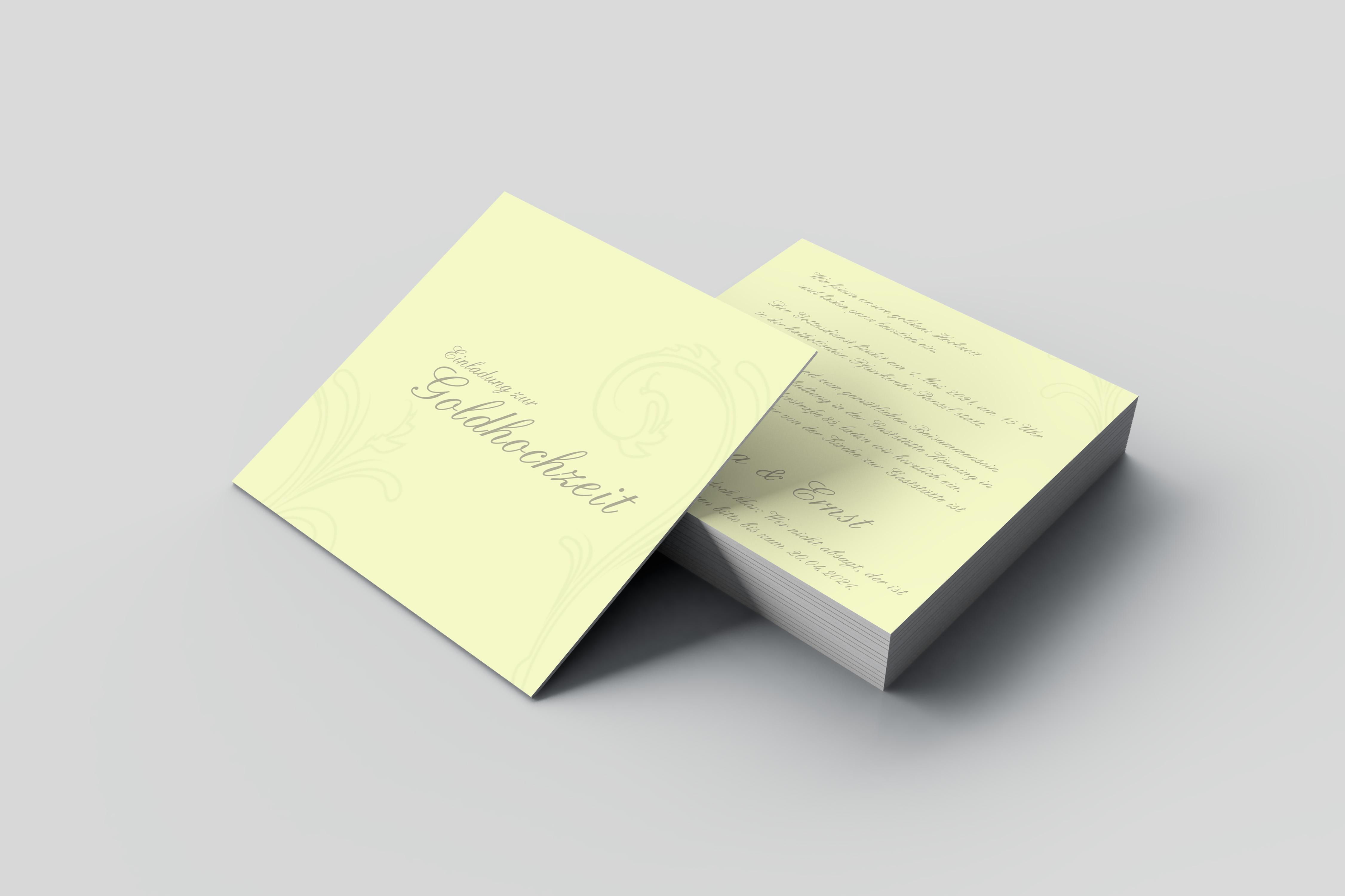 Einladungskarte Goldene Hochzeit Blätter Zeichnung