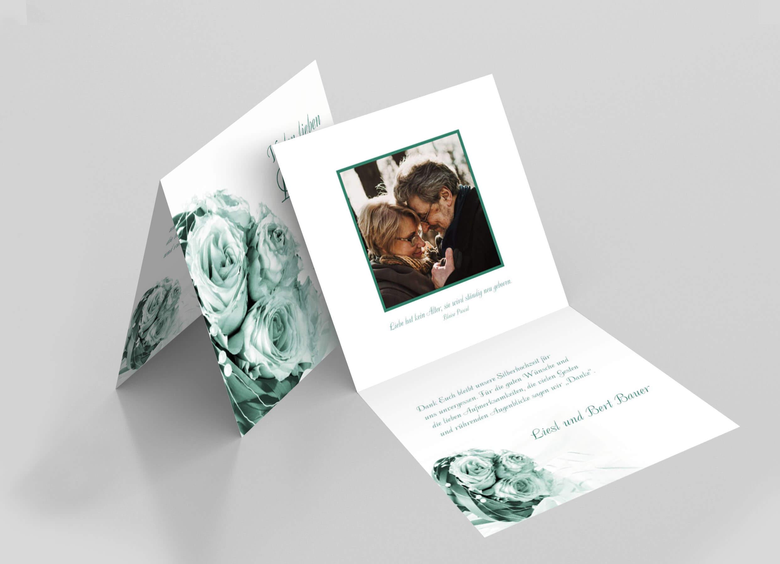 Dankeskarte Silberhochzeit Hochzeitsstrauss