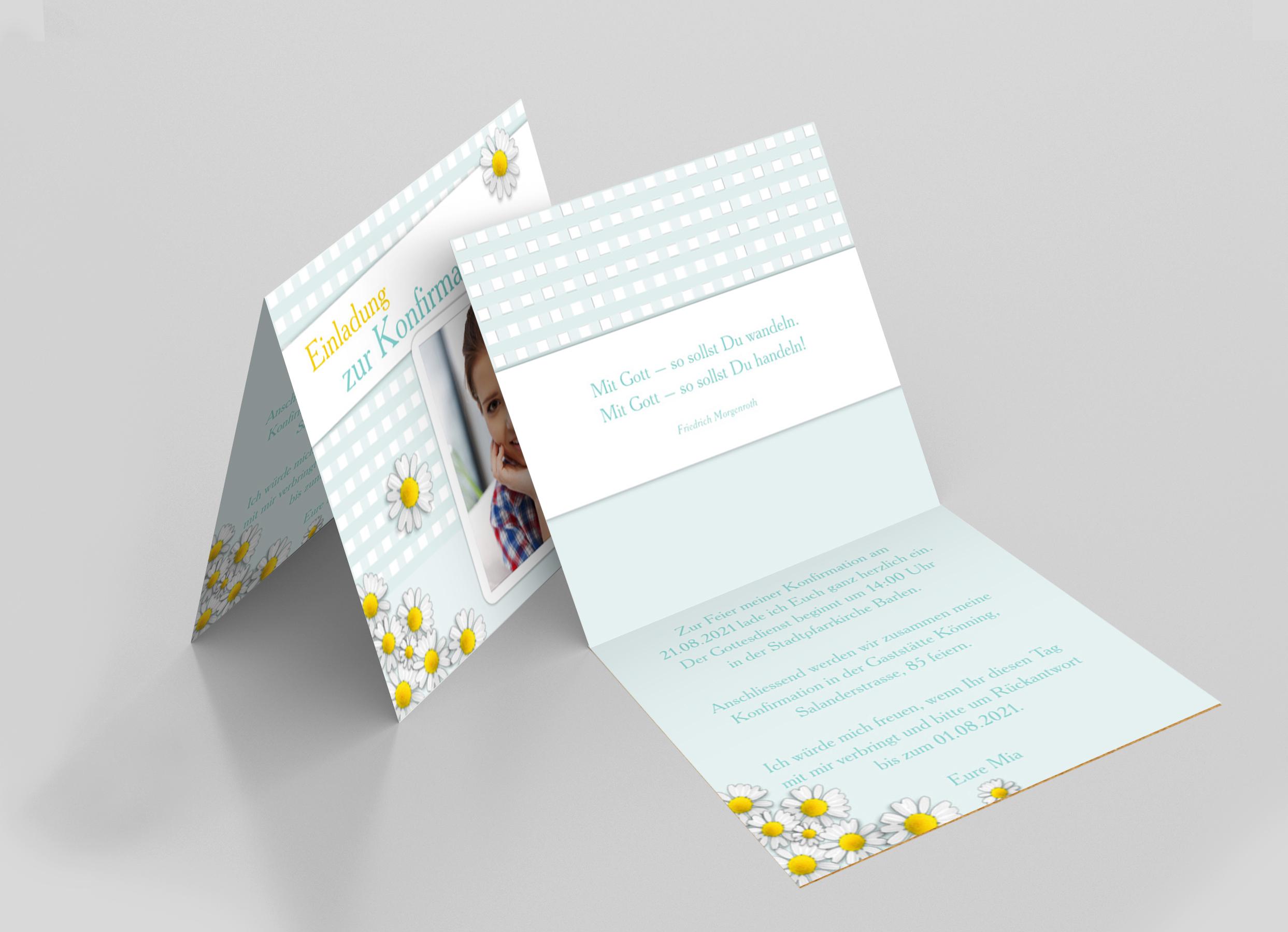 Einladungskarte Konfirmation Gänseblümchen