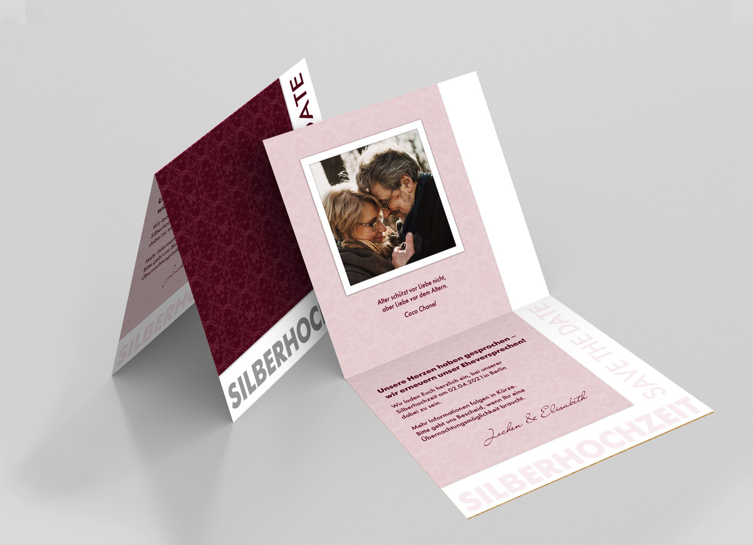 Save the Date Karte Silberhochzeit Schmetterlingsornamente