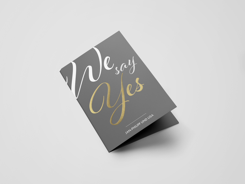 Einladungskarte Hochzeit Metallic