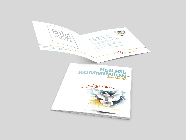 Einladungskarte Kommunion Fliegende Taube