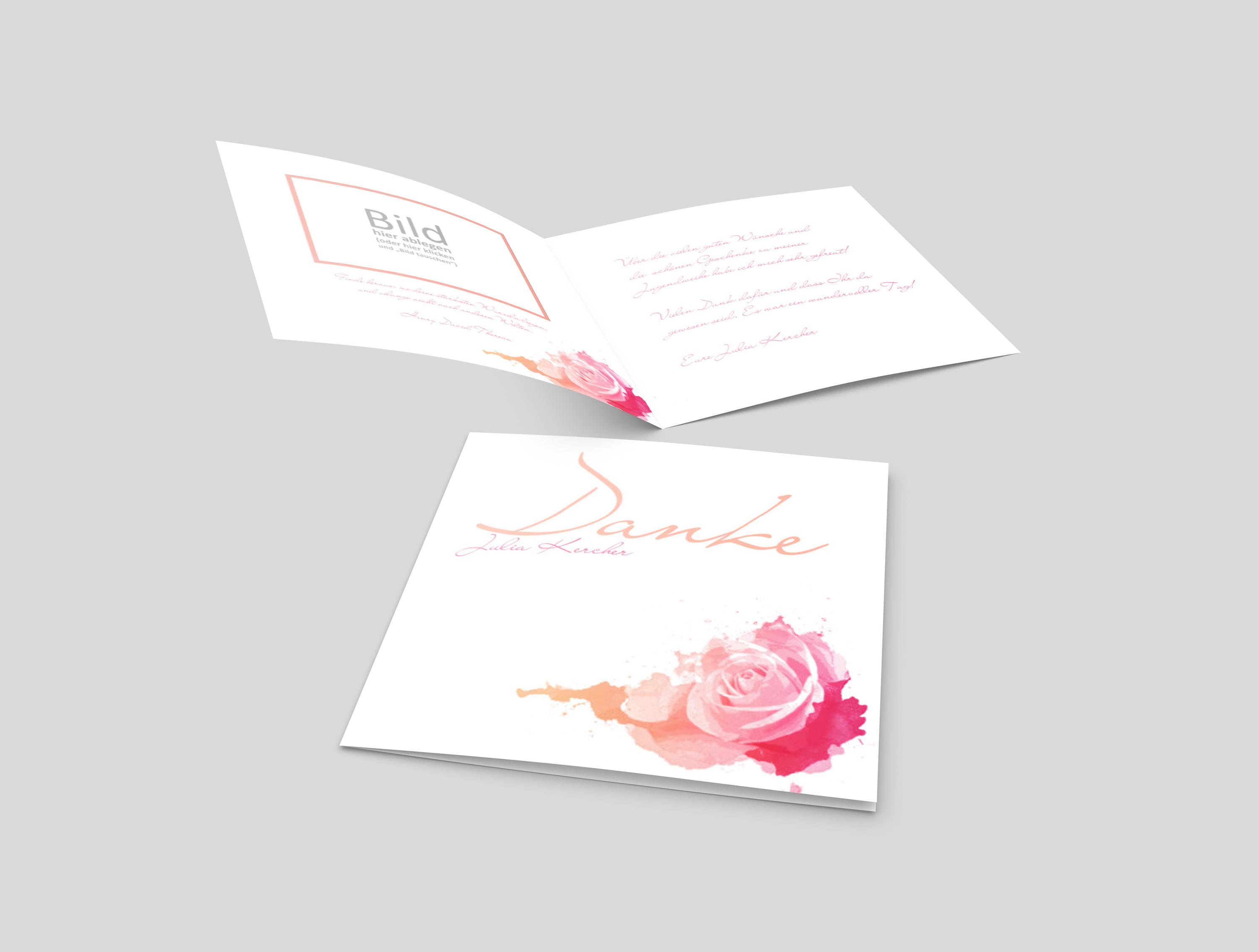 Dankeskarte Firmung Rose Aquarell