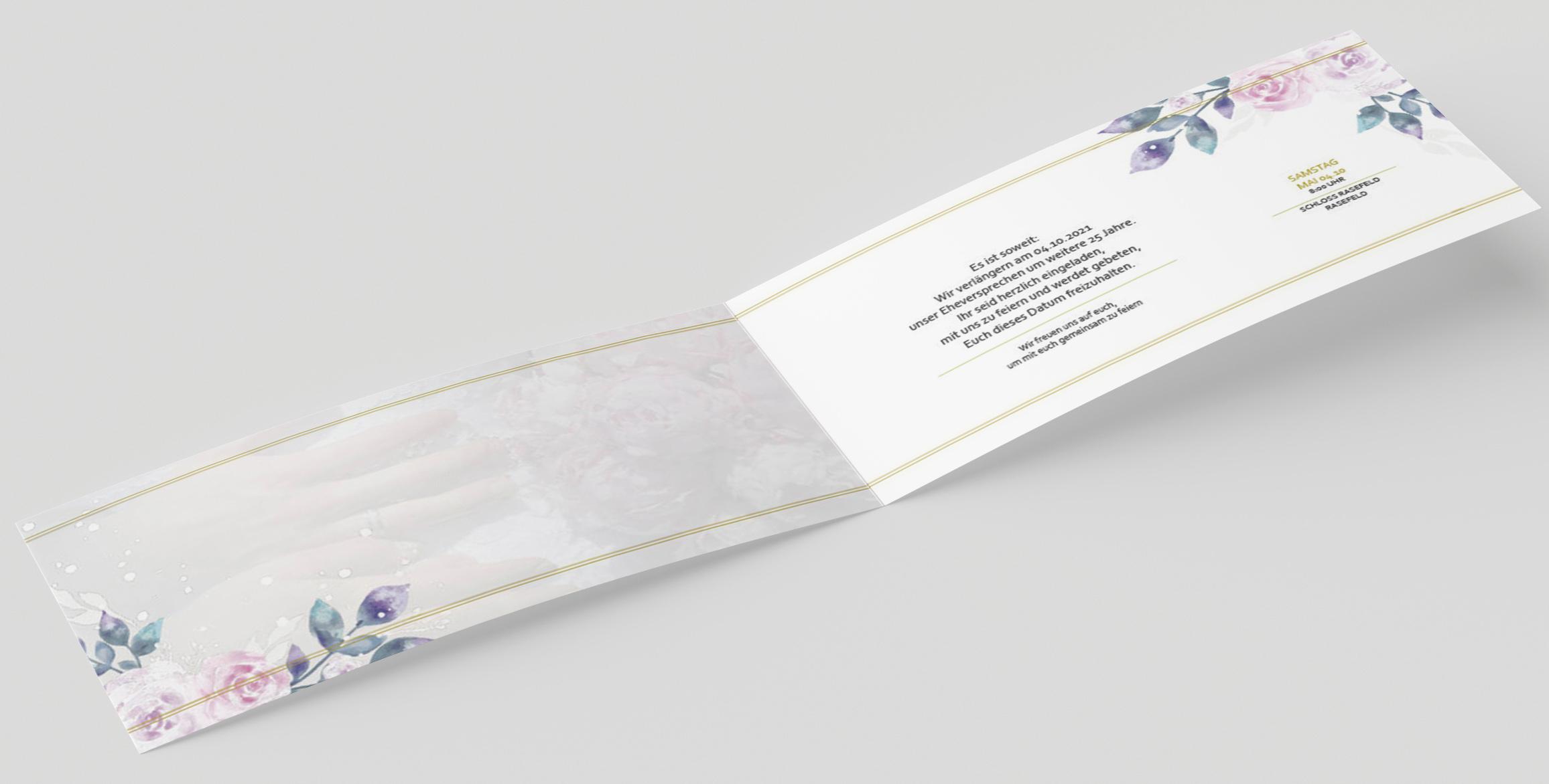 Einladungskarte Hochzeit Goldener Rand