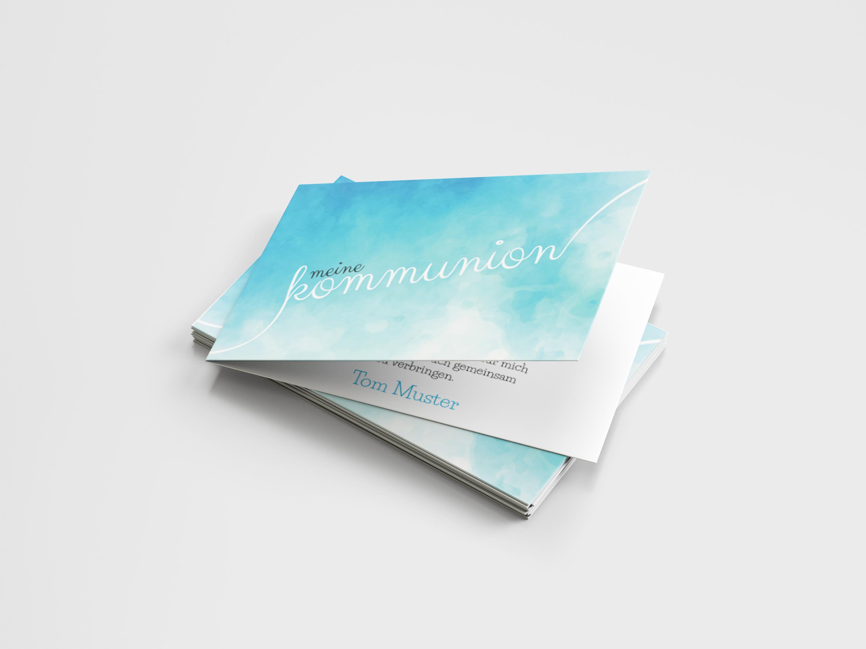 Einladungskarte Kommunion Handschrift Wolken
