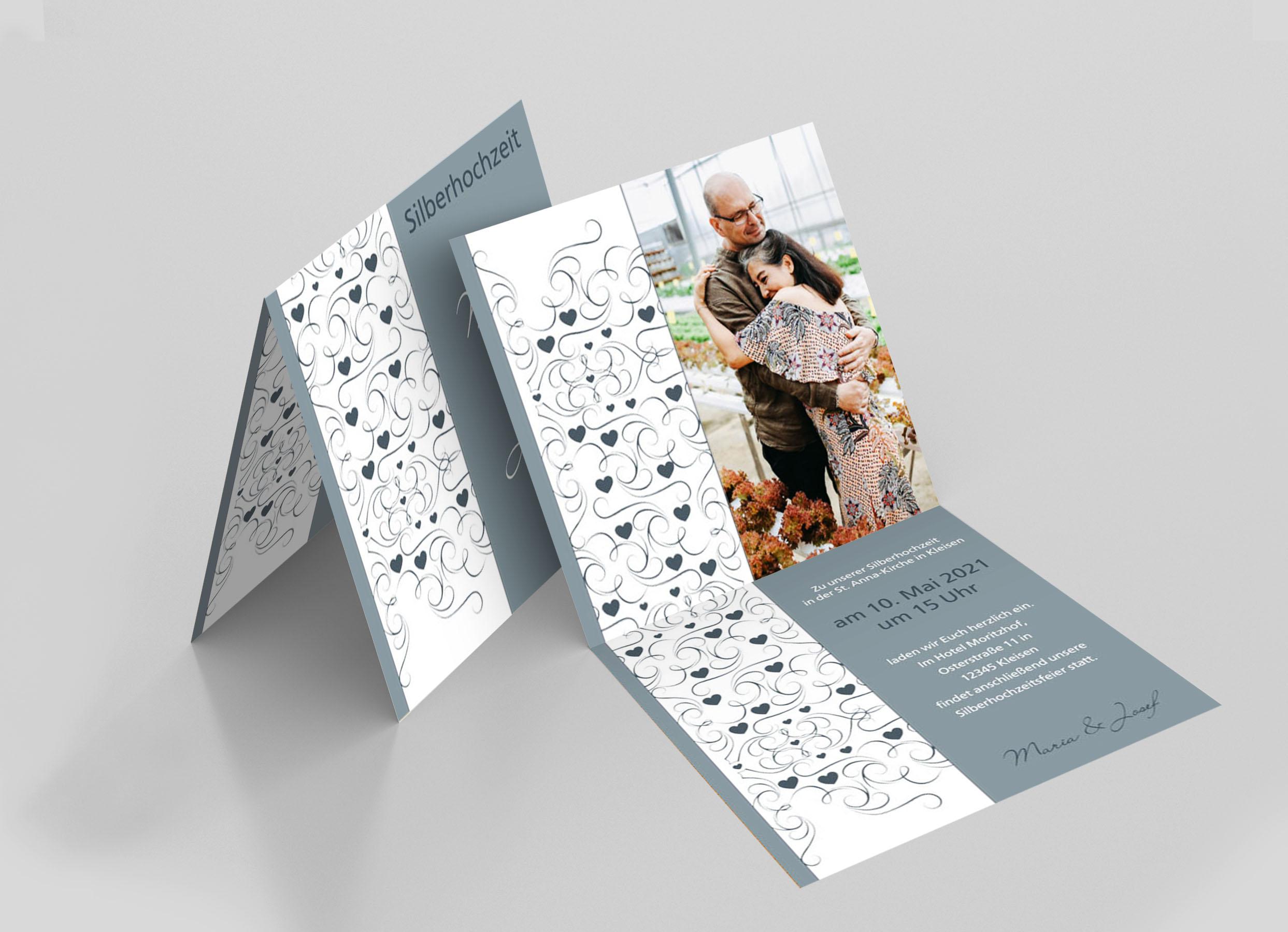 Einladungskarte Silberhochzeit Herz Verzierung