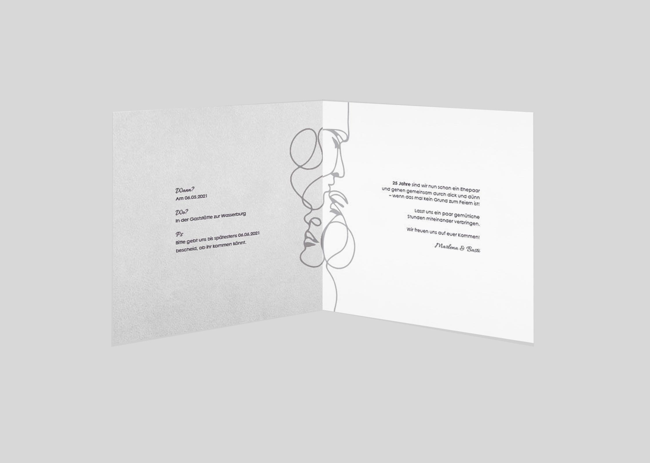 einladungskarten zur silberhochzeit | modern | kartenkuss.de