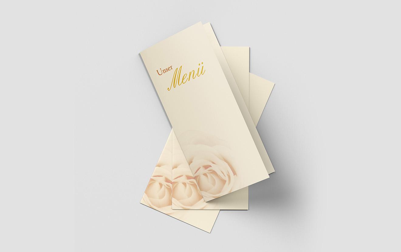 Menükarte Goldene Hochzeit Elegante Rose