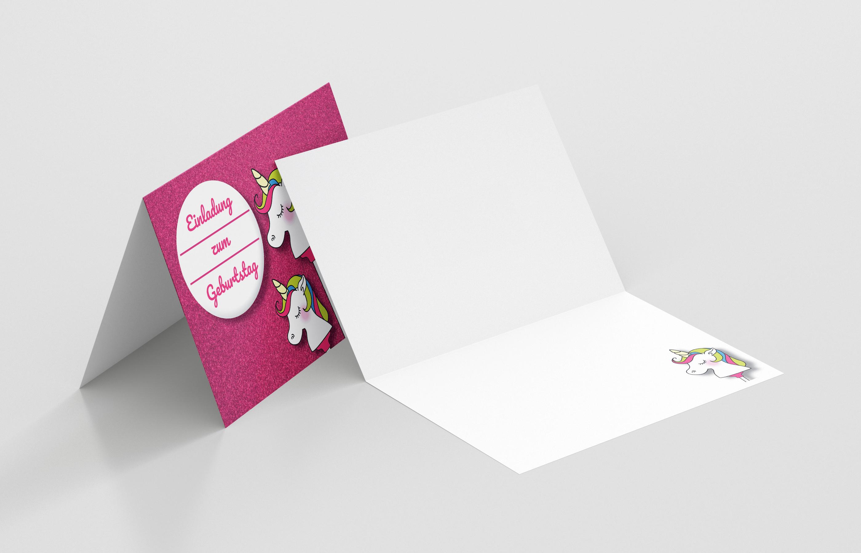 Einladungskarte Kindergeburtstag Einhorn am Stiel