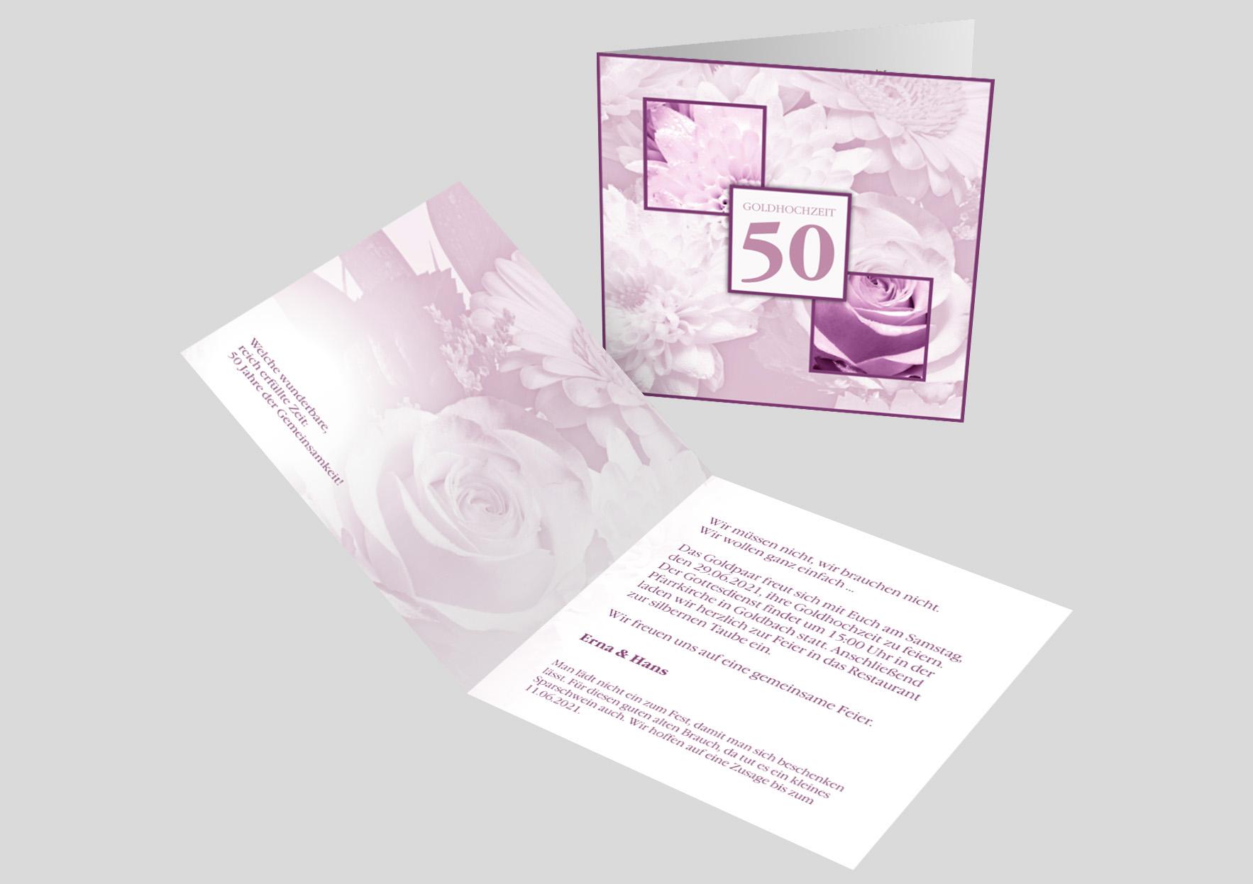 Einladungskarte Goldene Hochzeit Blumenmeer