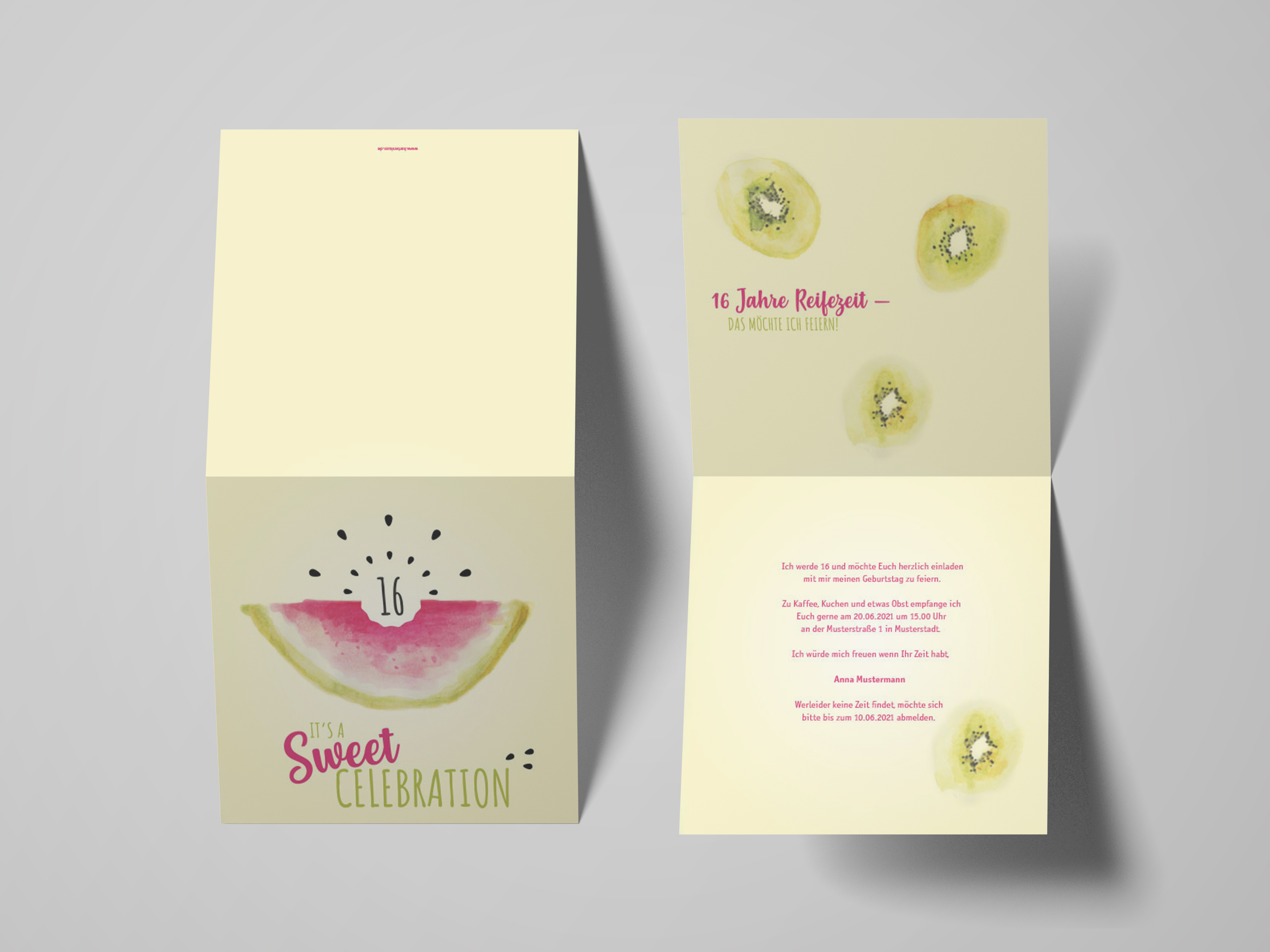 Einladungskarte Geburtstag Melone