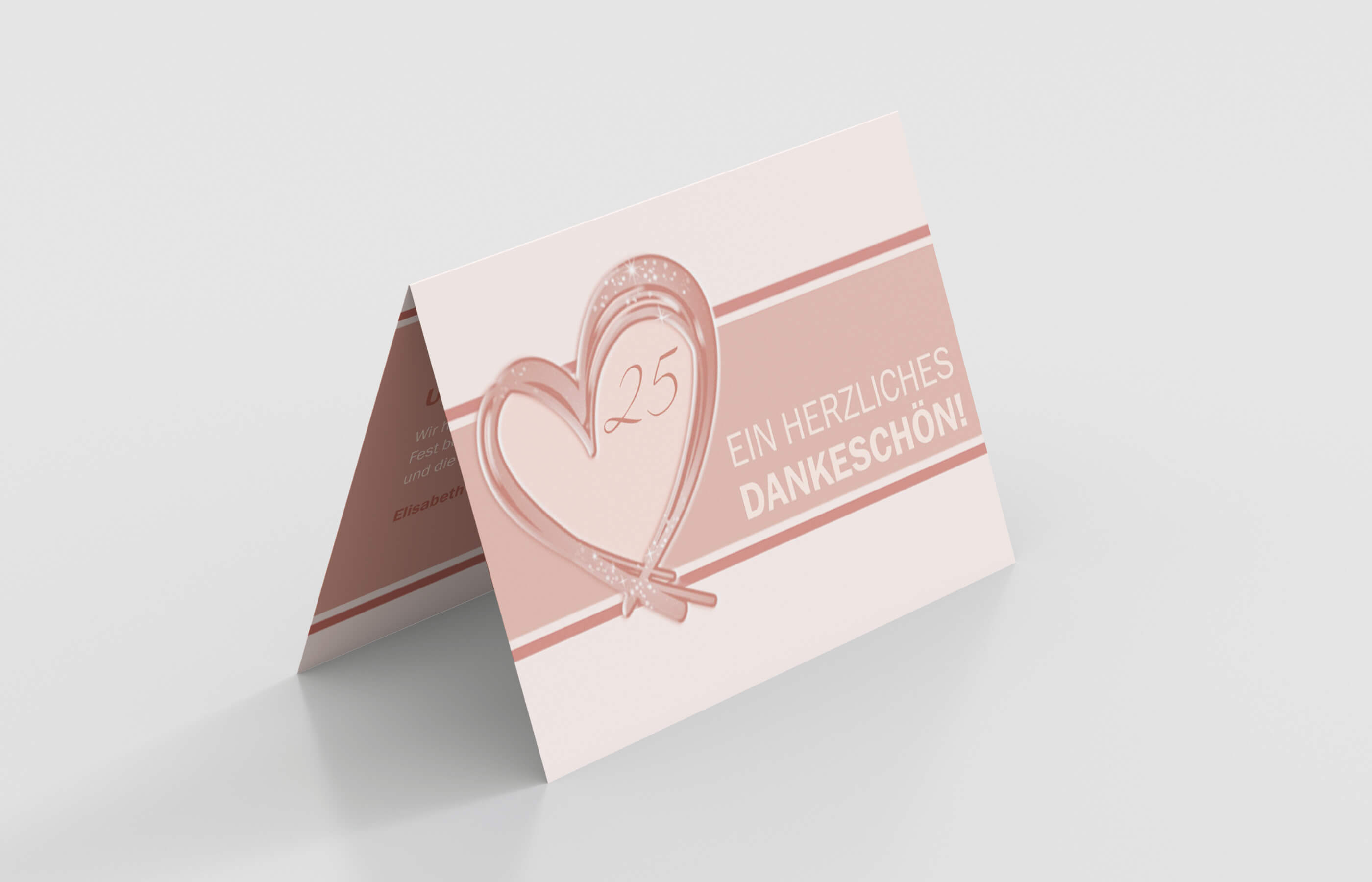 Dankeskarte Silberhochzeit Glänzendes Herzen