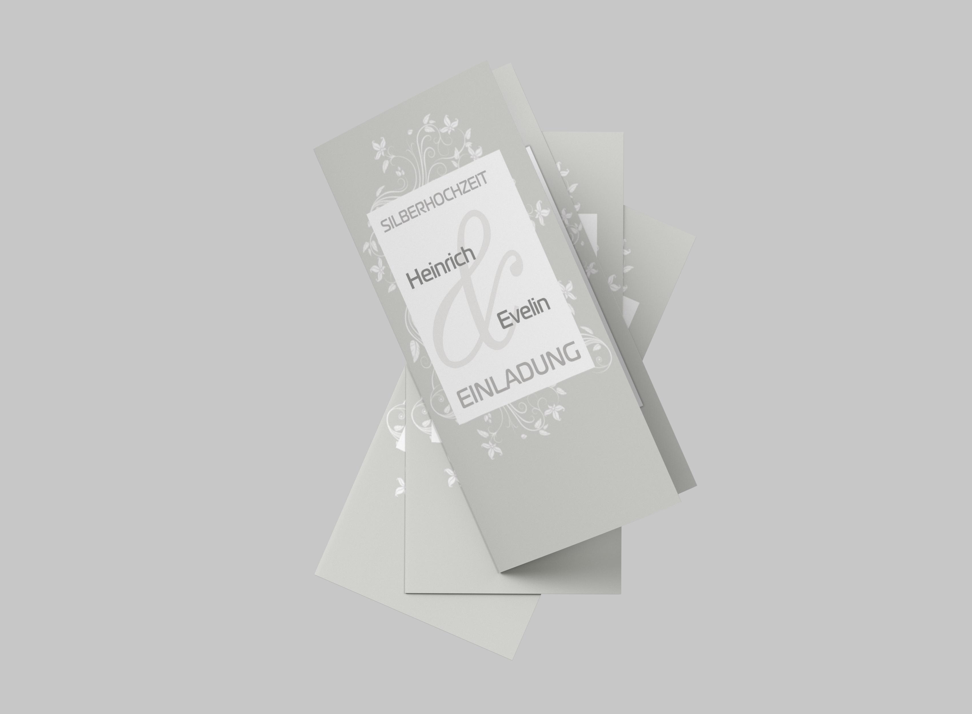 Einladungskarte Silberhochzeit Verspielte Blumen