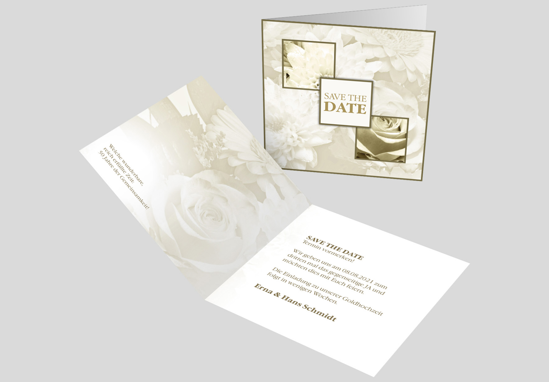 Save-the-Date-Karte Goldene Hochzeit Blumenmeer