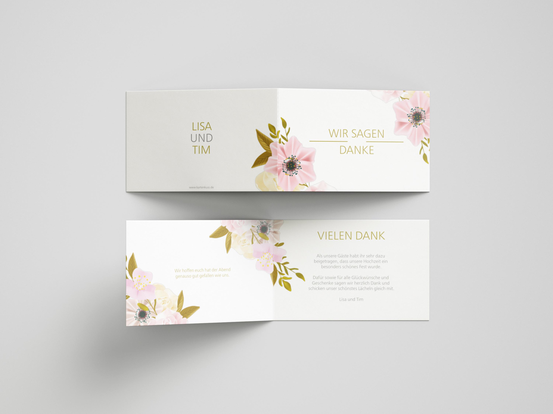Danksagungskarte Hochzeit Blumenpracht