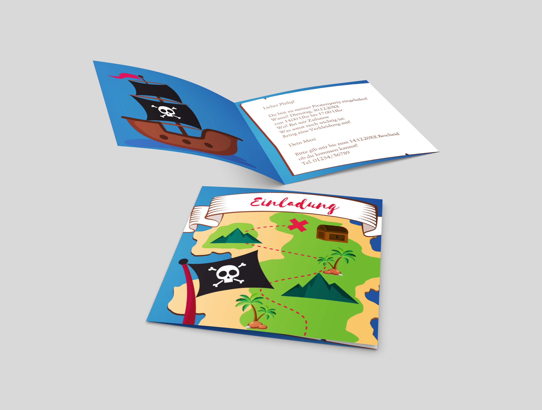 Einladungskarte Kindergeburtstag Piratenschiff
