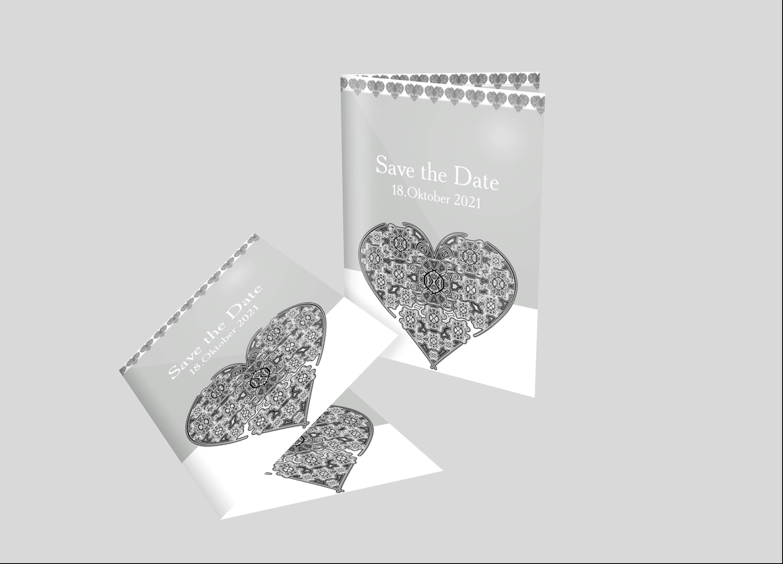 Einladungskarte Hochzeit Zierherz