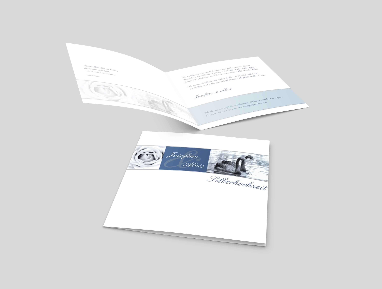 Einladungskarte Silberhochzeit Rosen und Schwanenpaar
