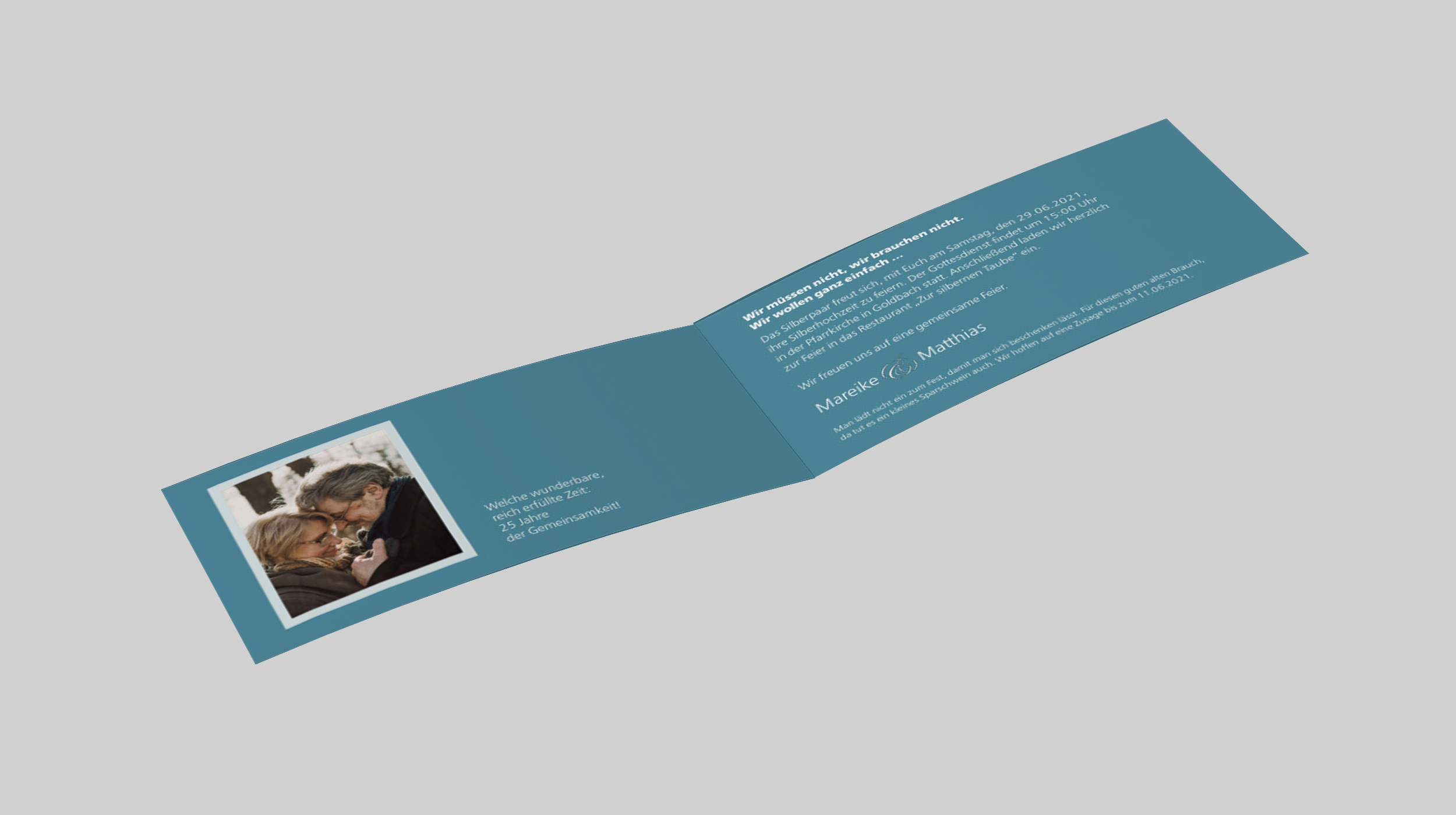 einladungskarten zur silberhochzeit | geradlinig
