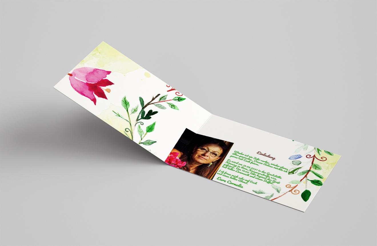 Einladungskarte Geburtstag Lorbeerkranz