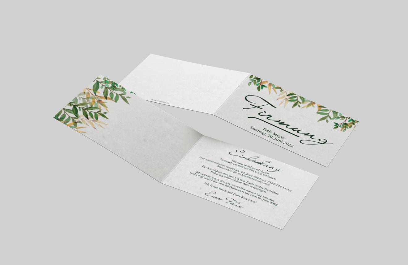 einladungskarten zur firmung | blumen aquarell | kartenkuss.de