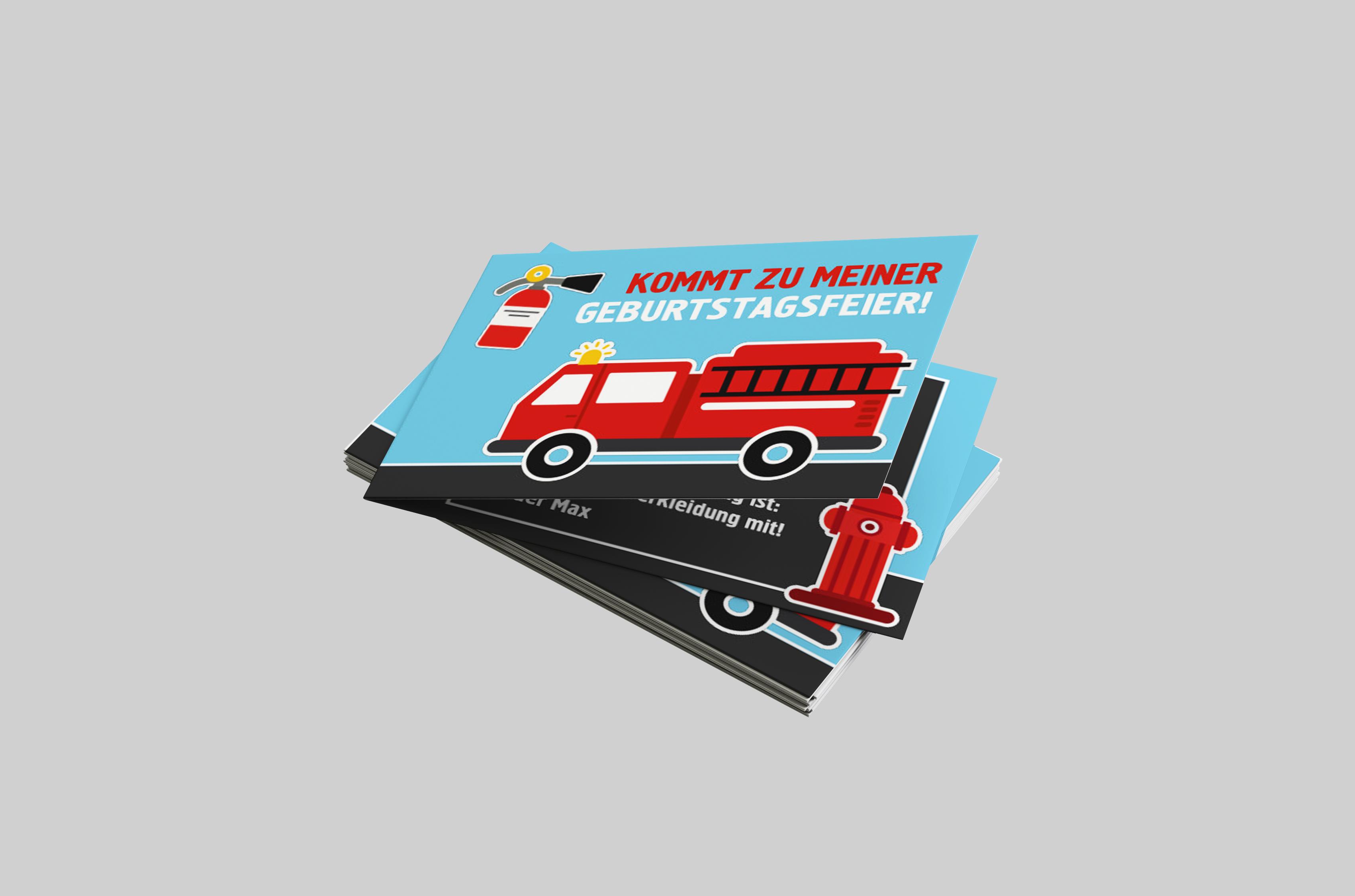 Kindergeburtstagseinladung Löschwagen