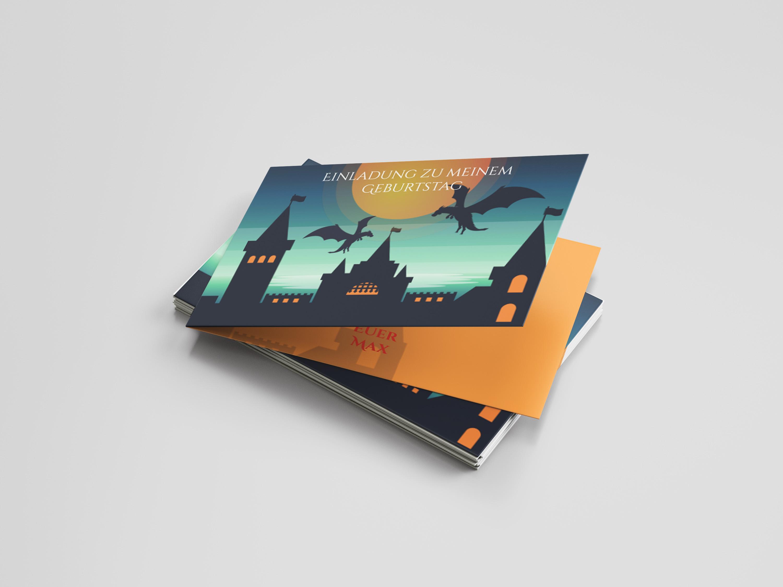 Einladungskarte Kindergeburtstag Drachenburg
