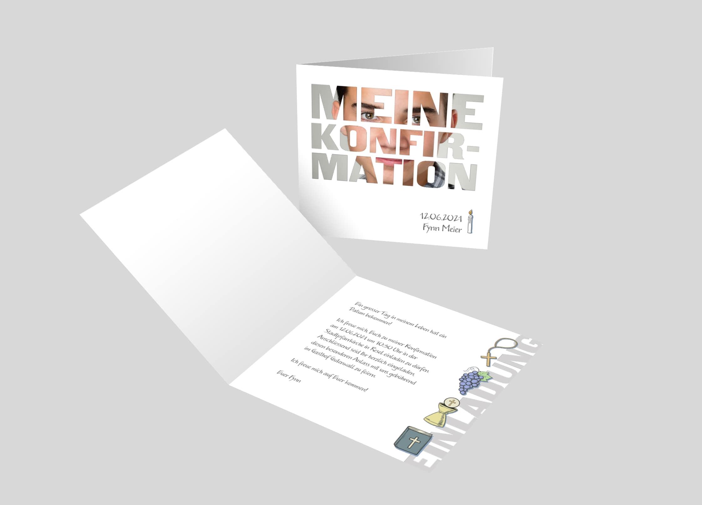 Einladungskarte Konfirmation Bildschrift