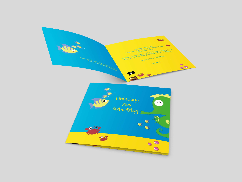 Einladungskarte Kindergeburtstag Unterwasser