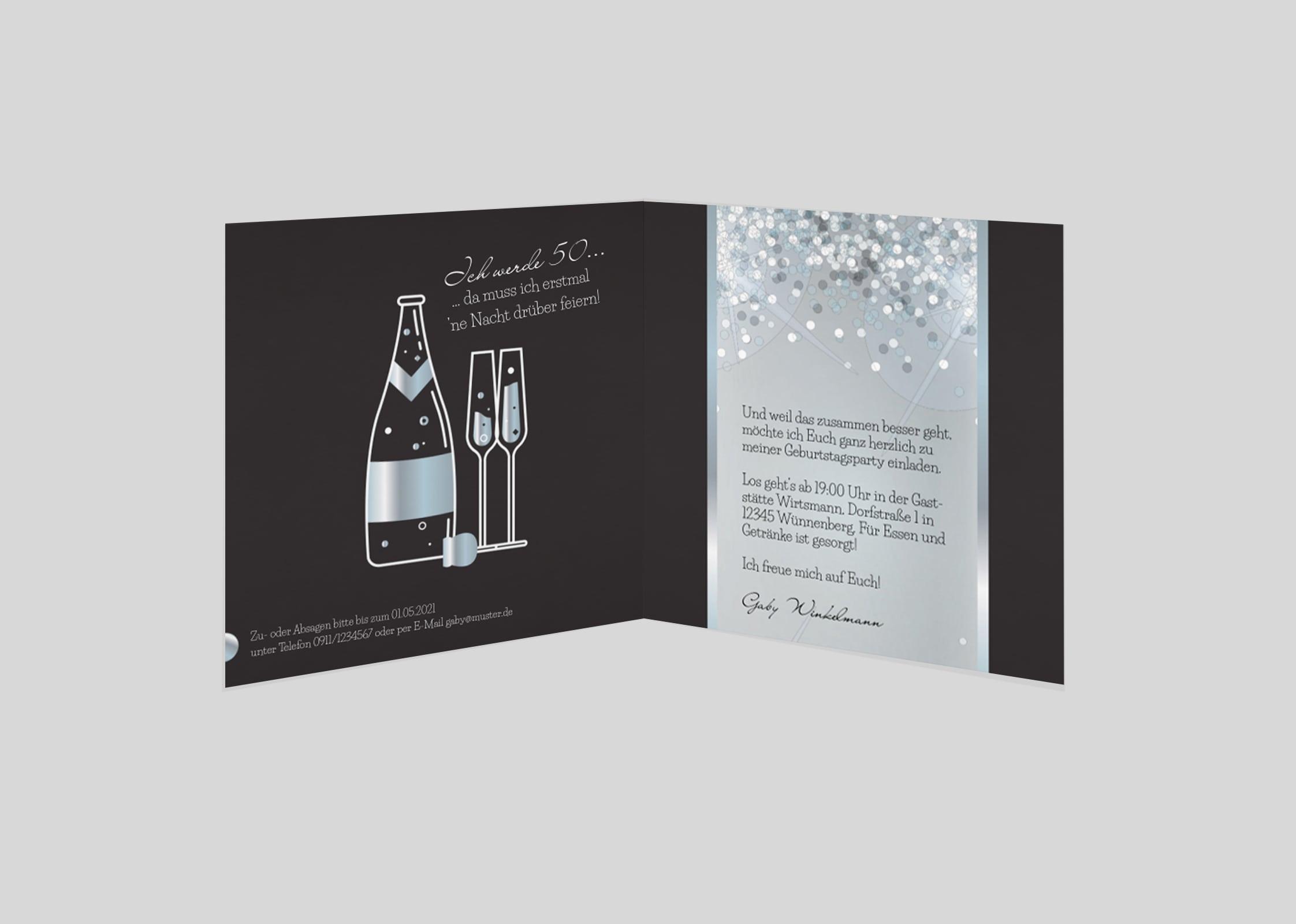 Geburtstagseinladung Versilberter Wein