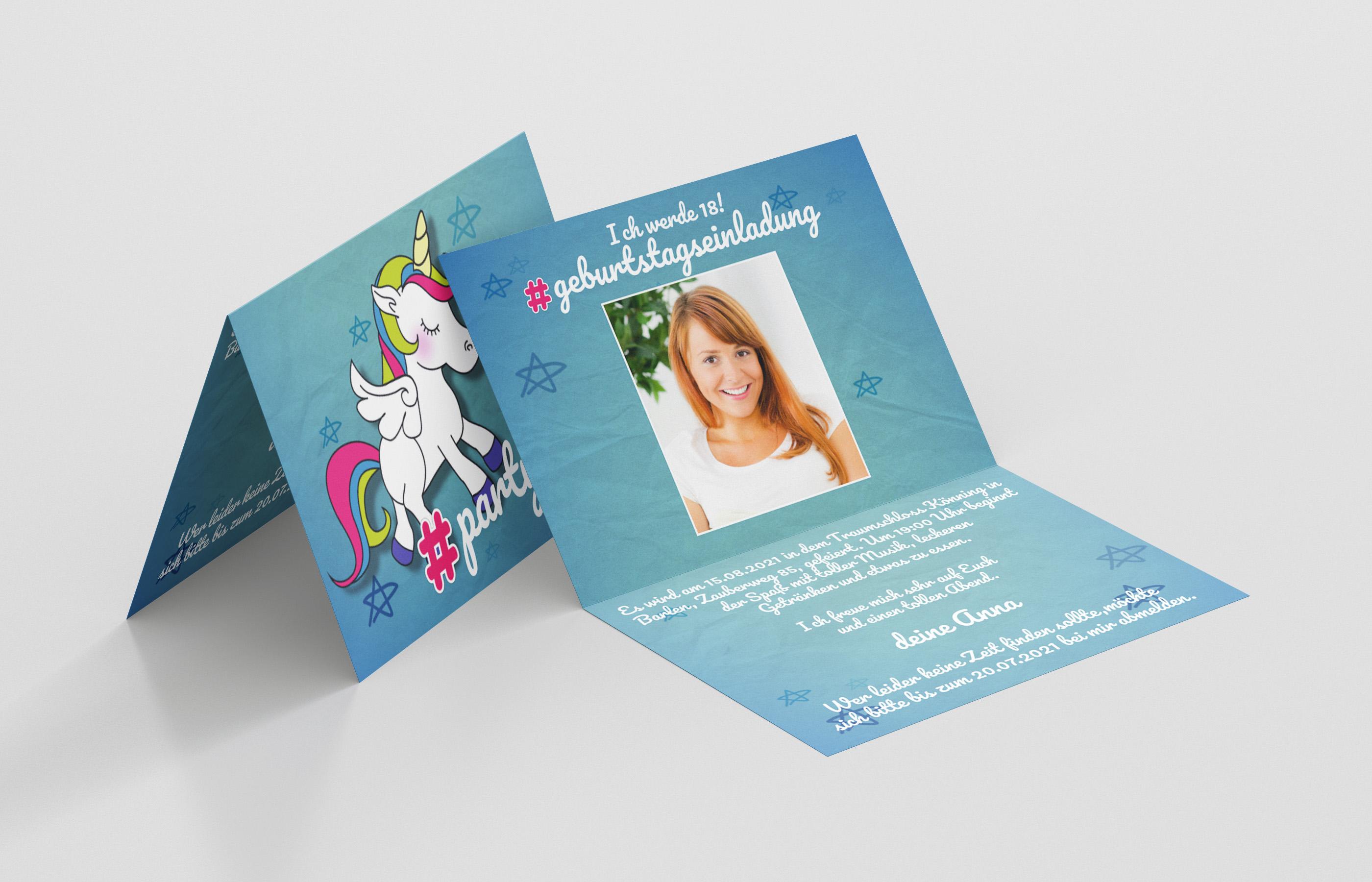 Einladungskarte Geburtstag Hashtag Einhorn