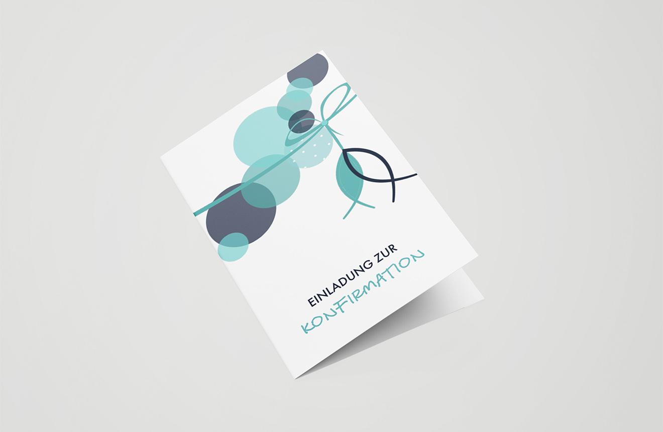Einladungskarte Konfirmation Abstrakte Schleife