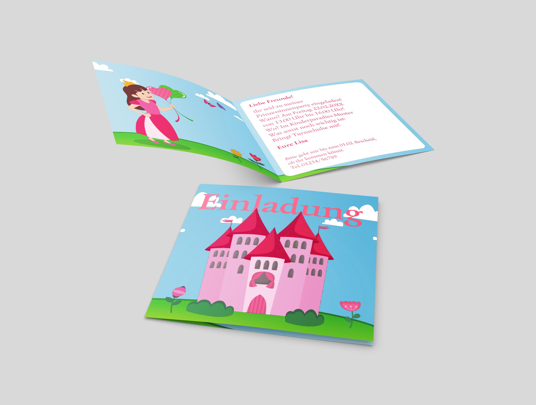 Einladungskarte Kindergeburtstag Prinzessinnenschloss