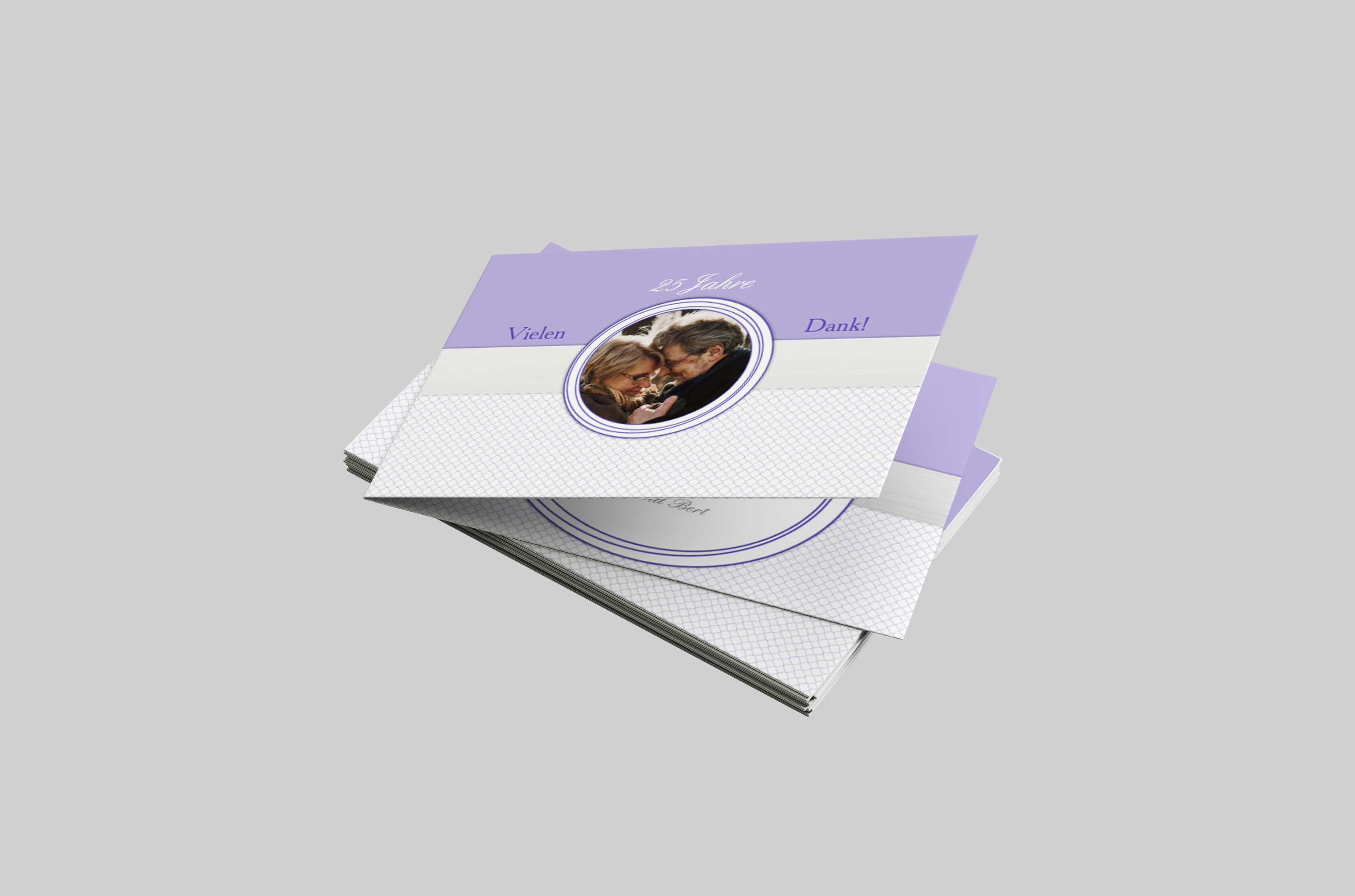 Dankeskarte Silberhochzeit Dezentes Farbtrio