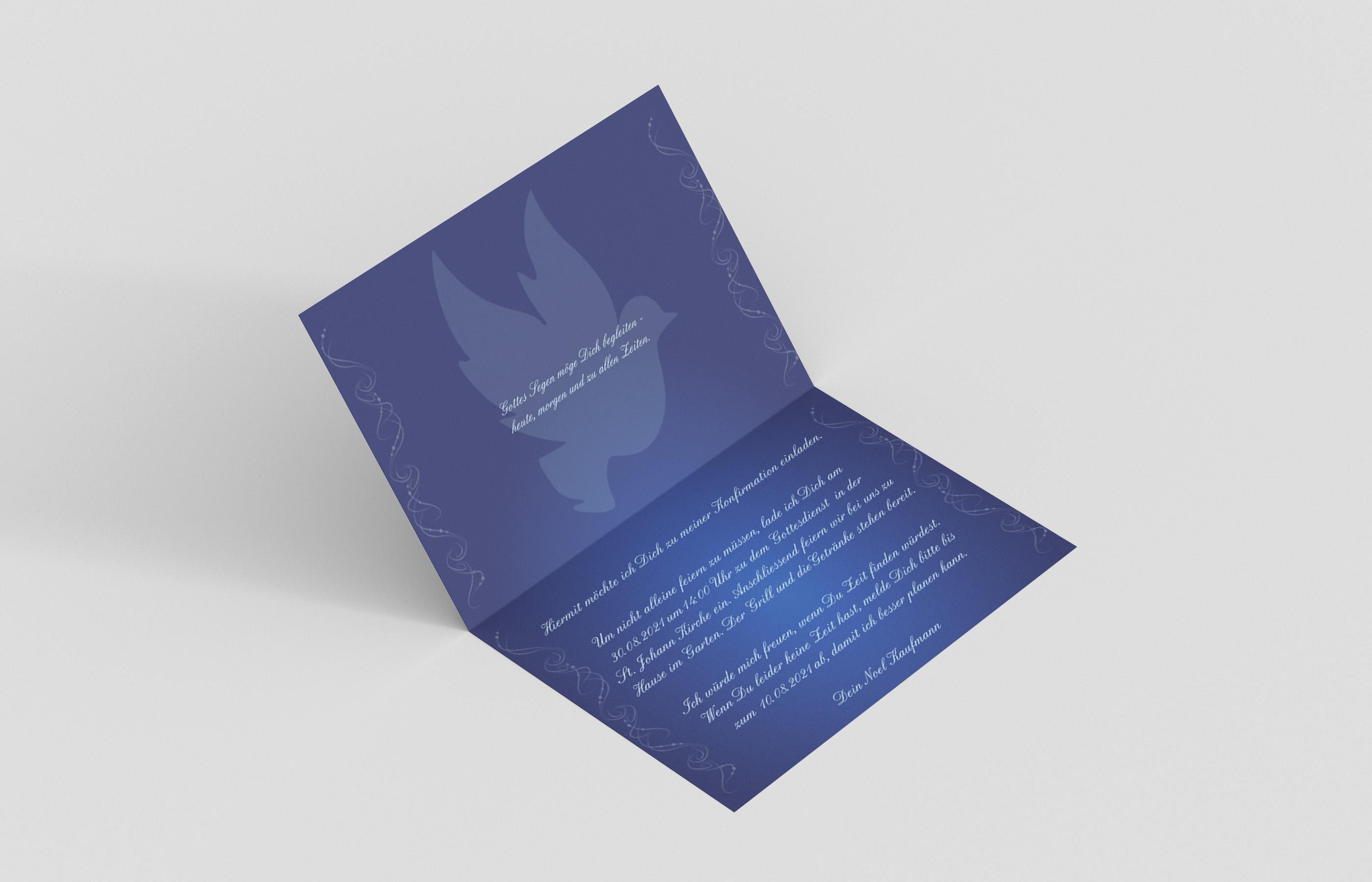 Einladungskarte Konfirmation Gebet-Taube