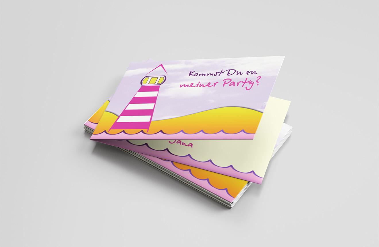 Einladungskarte Kindergeburtstag Leuchtturm