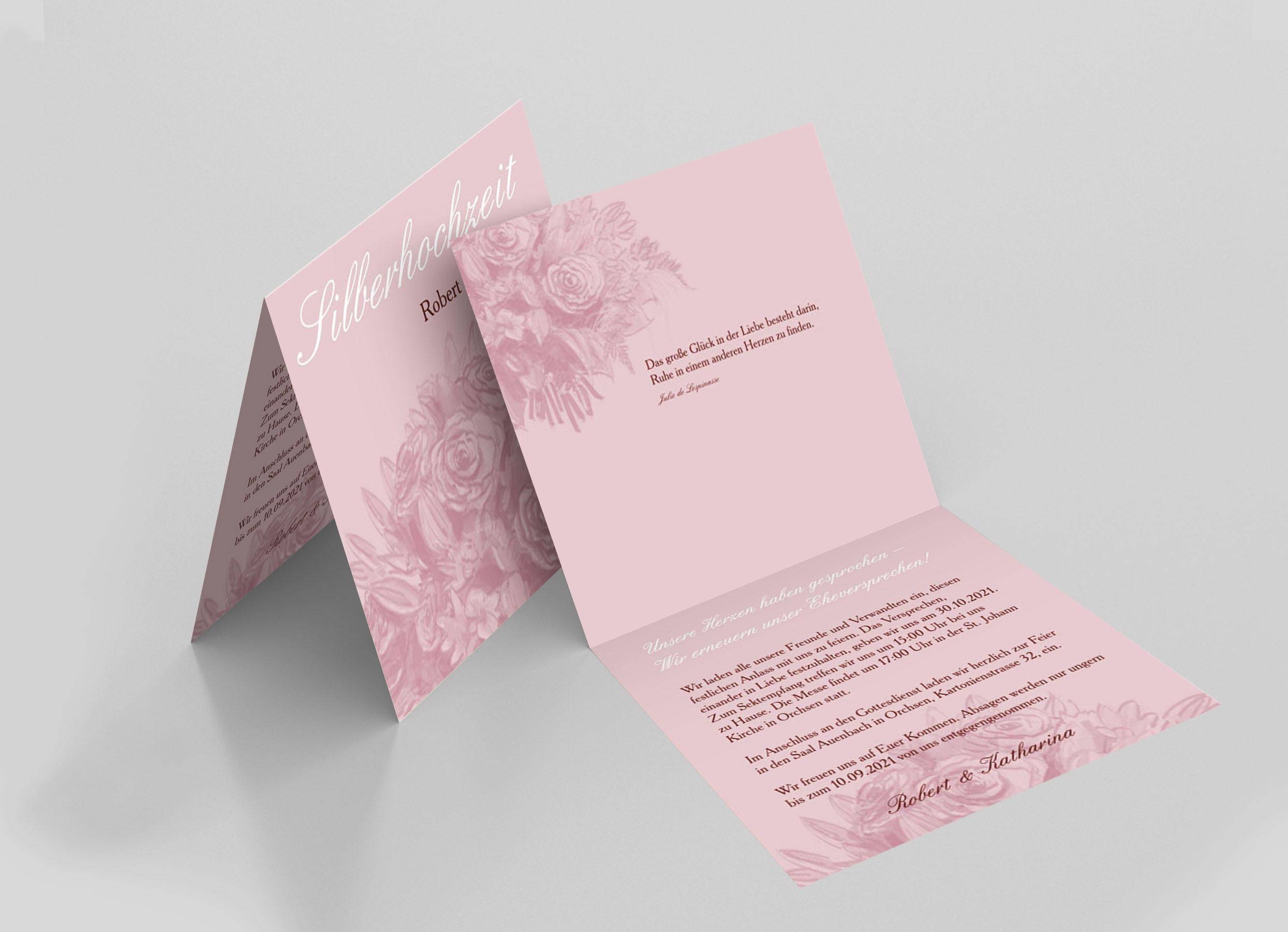 Einladungskarte Silberhochzeit Rosenstrauss Zeichnung